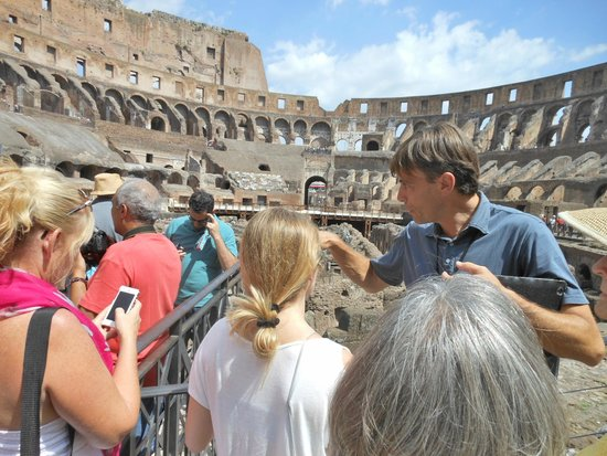 Italy Rome Tour: Max explaining details of the Colosseum