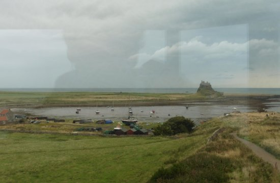 Lindisfarne Priory: View over the harbour towards the Castle.