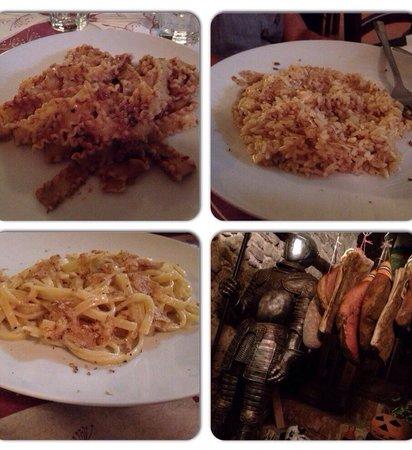 Enolaioteca Da Pina - La taverna della terra di Mezzo: Pappardelle al cinghiale; Scialatielli è riso con tartufo. Particolare della taverna.