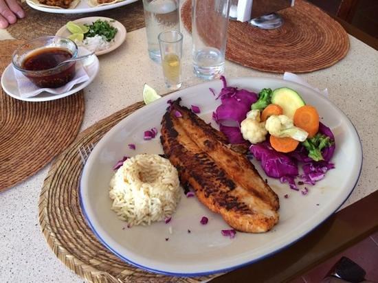 La Catrina: pescado al pastor con arroz y verduras......y Herrudura Reposado