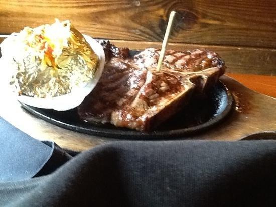 Alamo Steakhouse & Saloon: t bone and loaded potato