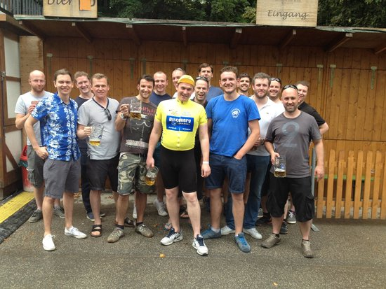 Mike's Bike Tours: Beer garden with Lance Armstrong