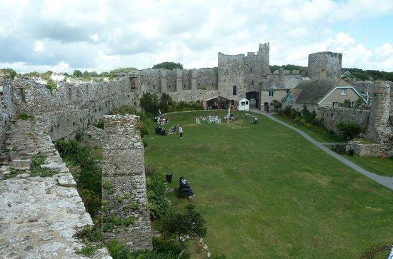 Manorbier Castle: View from inside the castle