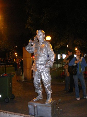 Living statue in the park in Miraflores