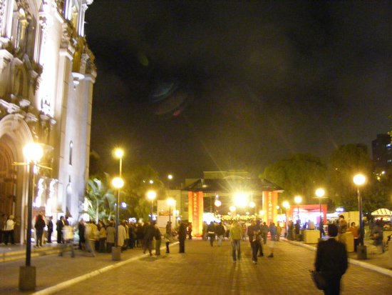 Night scene by the park in Miraflores