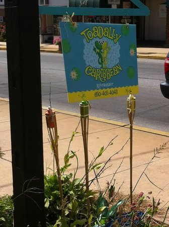 Toadally Caribbean: Sign in Front of Restraunt
