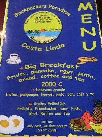 Backpackers Paradise Costa Linda: Breakfast Menu