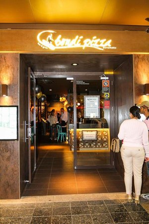 Bondi Pizza Parramatta: The restaurant front door on Church Street Parramatta