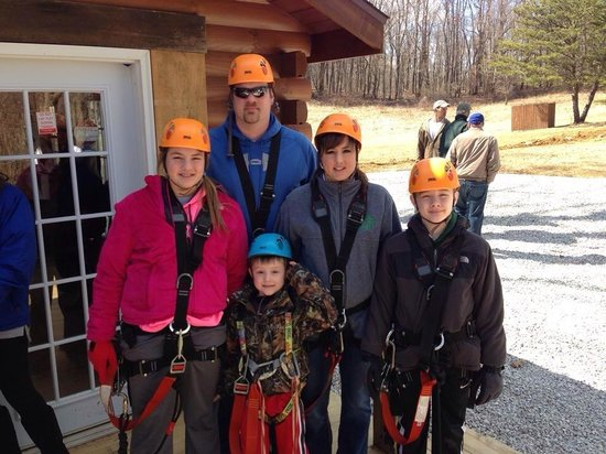 Soaring Cliffs Zip Line Course : Williams family getting ready to zip line!