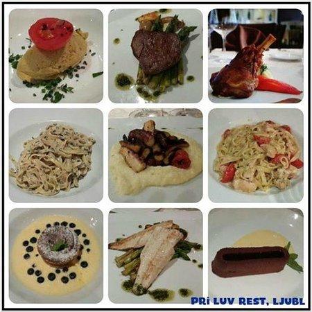 Hotel Lev Ljubljana: Food Collage in Pri-Luv restaurant
