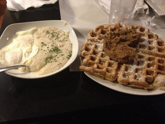 Dame's Chicken & Waffles: Classic waffle with chicken cutlet, grits, and eggs