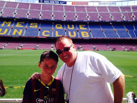 My son and I, having a lifetime memory in camp nou.