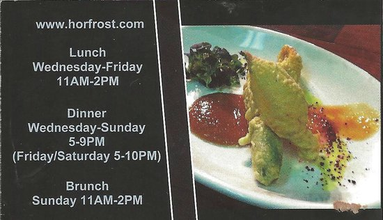 Business card in bill advertising brunch, Horfrost  |  190 A River Road, Portage la Prairie, Man