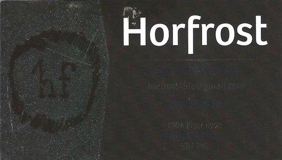 Business card, Horfrost  |  190 A River Road, Portage la Prairie, Manitoba R1N 3V6, Canada