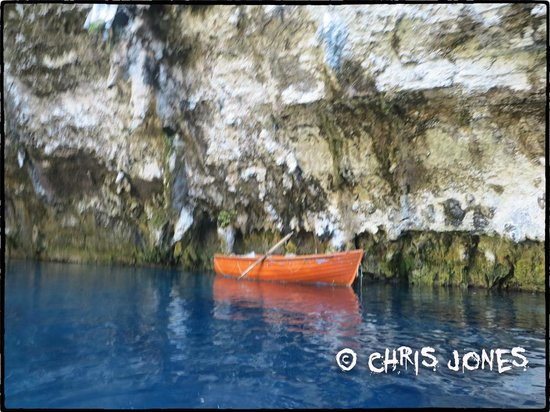 Melissani Cave: a boat