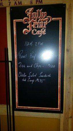 Entrance sign for specials, Jolly Frier Restaurant  |  112 Marion St, Winnipeg, Manitoba, Canada