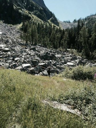 McAlester Pass-Rainbow Lake Loop: Talus field to cross before the pass