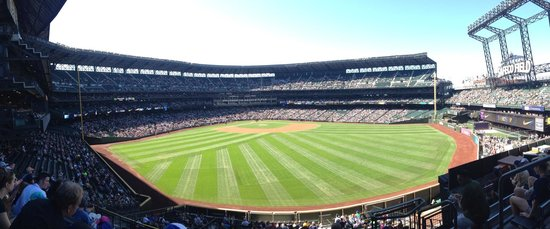 Safeco Field: View from Center field bleachers. Good view. Cannot see scoreboard though. Good location for the