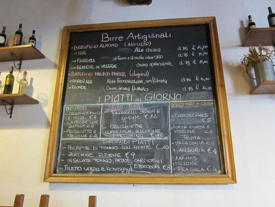 La Fiaschetta: Artisan Beer prices are per 750ml bottle