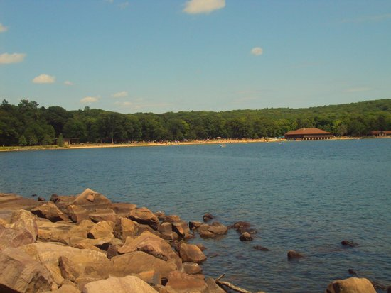 Devil's Lake State Park: View of beach from walking trail.