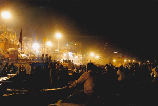 Ganges River: At night, the river is packed with boats
