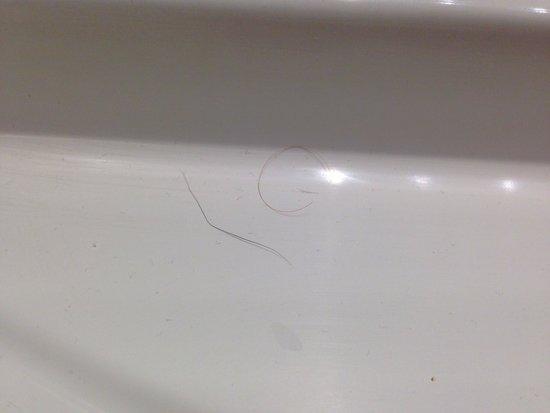 Quality Hotel Clermont Kennedy : Poils et cheveux sur évier et sur le sol