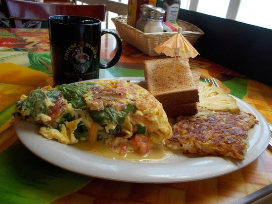 Cheeseburger In Paradise: Omelette breakfast with coffee