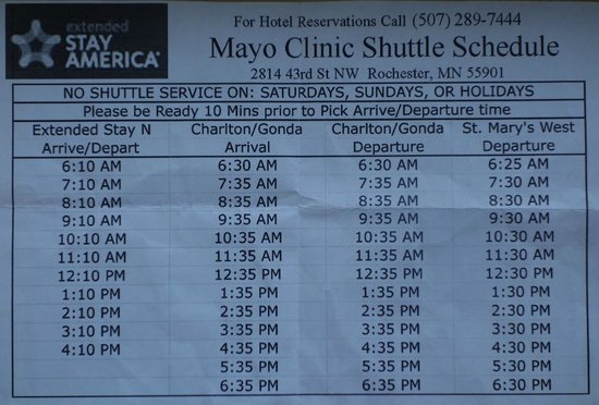 Shuttle bus schedule for Mayo Clinic and St  Mary's Hospital