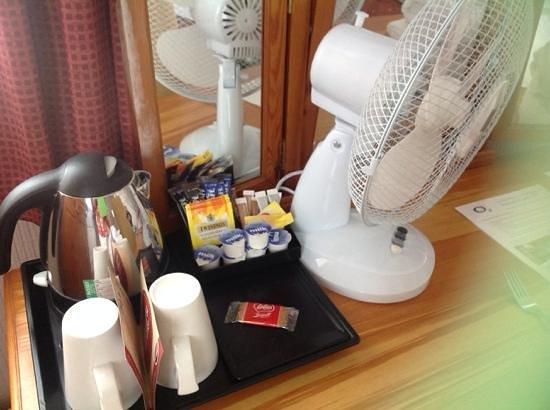 Innkeeper's Lodge Norfolk Broads - Swan Inn: tea and coffee and a new fan