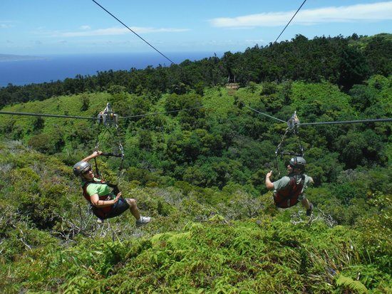 Kapalua Ziplines: Off we go! This is a photo they took of us.