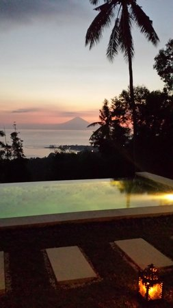 The Puncak: Sunset view from the room towards Bali
