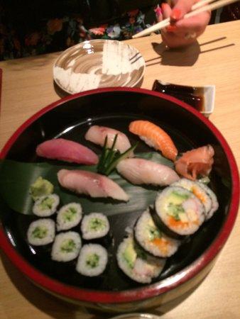 Goto Japanese Restaurant: Sushi platter - mixed fish nigiri, cucumber rolls and California rolls
