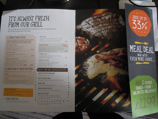 ‪‪Premier Inn Liverpool City Centre (Moorfields) Hotel‬: Part of their Restaurant menu‬
