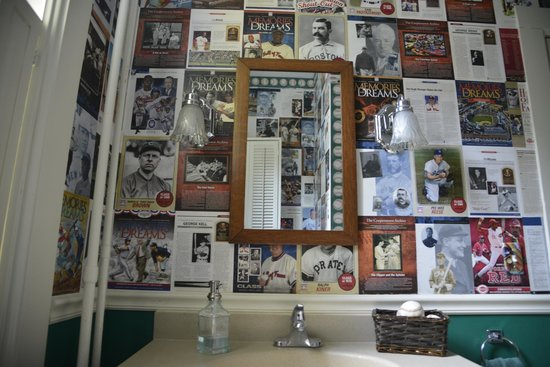 Baseball Bed and Breakfast: Interesting reports on the wall of bathroom