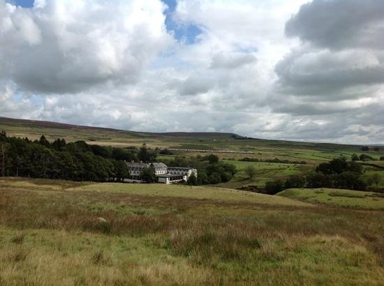 Shap Wells Hotel: The hotel with railway and M6 beyond.