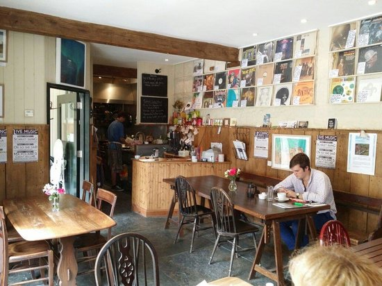 Beggars' Banquet Cafe: Interior complete with vinyl LPs for sale