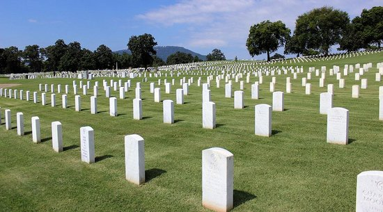 Chattanooga National Cemetery: National Cemetery with Lookout Mountain in the Background