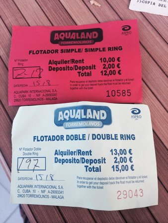 Aqualand Torremolinos: Receipts of my stolen floating rings.