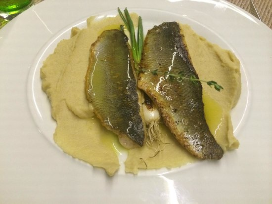 Herb's Garden: Sea bass with bean purèe