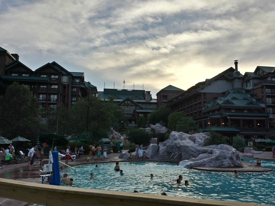 Disney's Wilderness Lodge: View from beach area looking at pool