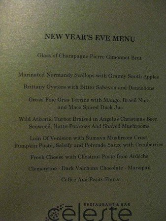 Celeste Restaurant : Our New Years Eve menu 09/10