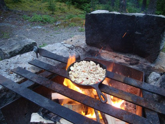 Seawall Campground: Fire pit and grill perfect for an iron skillet