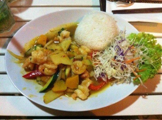 Lemon Leaf: Verdure e gamberi con riso jasmine