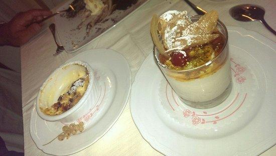Restaurant Cinque Archi: Dolce di ricotta siciliana al caramello e creme brulee