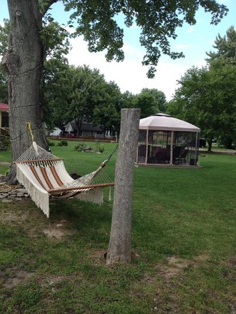 The Wandering Pheasant Inn: Hammock and covered seating area