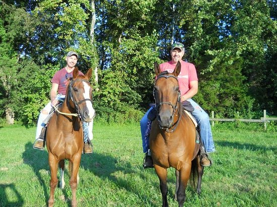 Jordan Hollow Stables: me and my partner enjoying a ride