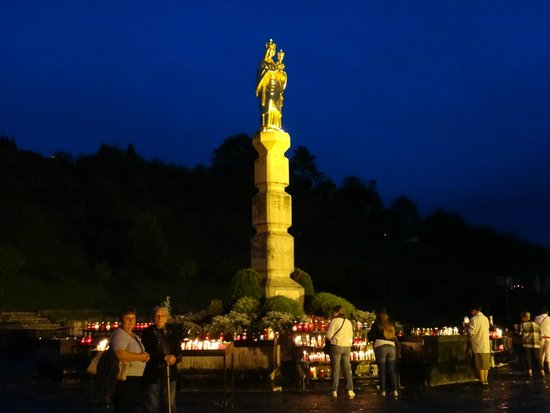 Statue of Mother Mary of Bistrica (Kip Majke Bozje Bistricke): The Virgin Mary statue at night
