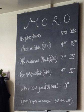 Moro Restaurant: Menu of Drinks