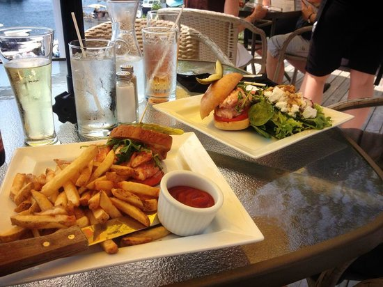 The Galley Restaurant & Lounge : 2 lobster sandwiches, 1 hot in a lobster sauce one cold with lettuce and tomato
