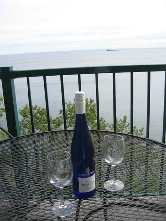 Superior Shores Resort: What more could you ask for?  A nice glass of riesling on the balcony while watching a ship go b